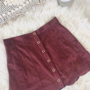 Kendall and Kylie maroon suede skirt